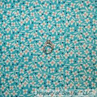 BonEful Fabric FQ Cotton Quilt VTG Aqua Blue Flower B&W Orange Dot Colonial Girl