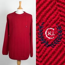 MENS RALPH LAUREN CHAPS COTTON KNIT JUMPER HERRINGBONE SWEATER 90'S RED XL