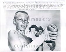 1959 Teen With Catch of Sand Shark That injured Him Delray Beach FL Press Photo