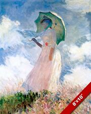 CLAUDE MONET BEAUTIFUL YOUNG WOMAN & UMBRELLA PAINTING ART REAL CANVAS PRINT