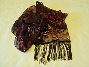 Scarf Wrap Shawl  and Hair Clip /Bow black with dark red flocked Fabric fringed