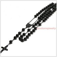 Mens Chain Black Bead Rosary Stainless Steel Chain Jesus Cross Pendant Necklace
