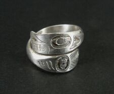 Ring Silver Northwest Coast Vintage Sterling 925 Wrap Style Band Ring Size 8
