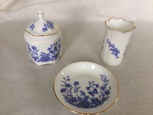 Aynsley Cottage Blue Bone China Bud Vase, Plate & Pagoda Box