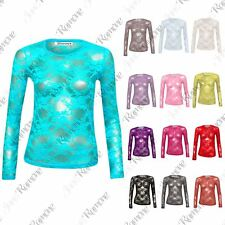 New Womens Long Sleeve Full Floral Lace Detail Mesh Insert Vest Tee T-Shirt Top