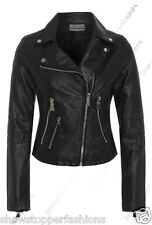 Size 8 10 12 14 NEW Womens BIKER JACKET Crop FAUX LEATHER Ladies ZIP Coat PU