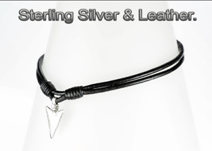 4N-563 Gift Solid Sterling Silver & Leather ARROWHEAD Spear Choker Men Necklace