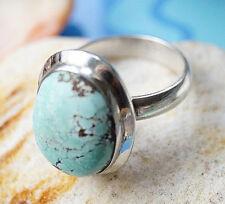 Silberring 54 Türkis Braun Modern Handarbeit Ring Silber Schlicht Elegant Hoch