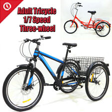 Adult Tricycle 1/7 Speed 3-Wheel For Shopping W/ Installation Tools