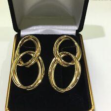 14k Gold Interling Set Of Double Looped Stud Earrings
