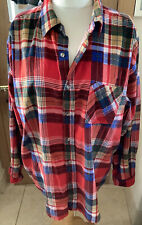 NEW COTTON TRADERS MENS RED/BLUE MULTI CHECKED CORD SHIRT, SIZE XXL, 2XL