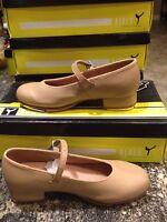 Women's 7.5 Bloch Tan Leather Buckle Mary Jane Tap Dance Shoes NIB!