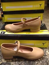 Women's 6 Bloch Brand Tan Leather Buckle Mary Jane Tap Dance Shoes New In Box !