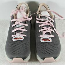 Sketchers ArchFit Women's size 8 Gray Pink Laces Arch Support Sneakers NIB