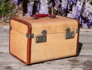 Vintage Travel faded gold orange tweed ish cosmetic luggage case spring latch