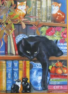 SunsOut Chrissie Snelling On The Shelf 1000 pc Jigsaw Puzzle Cat Bookshelf