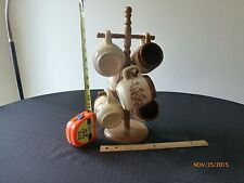 Vintage Rustic Wooden Mug Tree with Six Matching Retro Coffee Cups Taiwan Lot