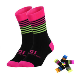 Pro Cycling Socks Mens Womens Ridiing Bicycle Sports Ankle Socks MTB Pink Green