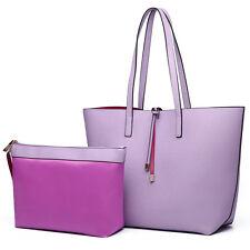 Ladies Faux Suede/ Leather Large Reversible Tote Shoulder Hobo Handbag Bag