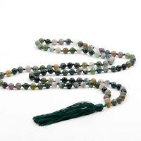 Knot--Green Agate Gem Tibet Buddhist Prayer Beads Mala Necklace--108Beads--6mm
