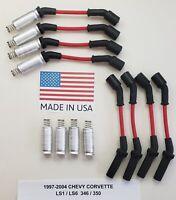 CHEVY CORVETTE 1997-04 LS1/ LS6 5.7L 346/350 RED Spark Plug Wires + HEAT SHIELDS