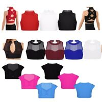 Child Girls Ballet Dance Costumes Crop Top Kids Gym Sport Workout Stage Tank Bra