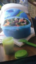 Tupperware Salad On The Go Set New Blue Bowl Utensils Sauce Container