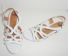 Sofft Women Corinth White Leather Open Toe Cork Wedge Heel Sandal Size 9.5M NWOB