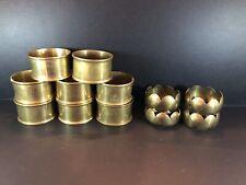 "12 Brass Round Napkin Rings Holders (8) + (4) Vintage Mid Century 2"" Metal"