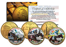 AMERICAN PHAROAH Triple Crown Winner 3-Coin Set Quarters Gold Plated -TEST ISSUE