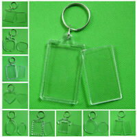 2-10Pcs Rectangle/Heart Transparent Blank Photo Picture Frame Keyring Keychain@
