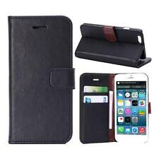 "For iPhone 6/6s 4.7"" Black Genuine Real Leather Business Wallet Case Cover Stand"