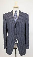 NEU. Canali blau gestreift Leinen 3 Roll 2 Knopf Anzug Größe 56/46 R Drop 6 $1650