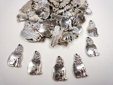 20 Metallanhänger KATZE Silber Anhänger Metall Perlen Schmuck basteln DIY
