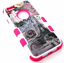 for iPhone 6 6s EIFFEL TOWER PARIS Flower Stamp Hot Pink Rubber Hybrid Skin Case