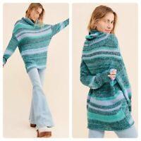 Free People Candy Stripe Tunic Sweater Waterfall Teal Lavender Stripe Cowl Small