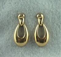 Signed Monet Gold Tone Drop Dangle Teardrop Door Knocker Pierced Earrings
