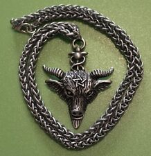 Celtic Wicca Pagan Goat Head Pentagram Pewter Pendant Necklace on Chain
