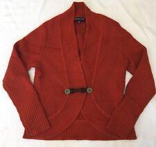 Burnt Orange Cardigan With Leather Toggle Close Sz PS By Jones New York EEUC