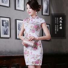 2018 retro fashion Chinese cheongsam daily short slim and thin dress pink peony