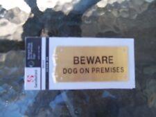 beware of the dog brass sign 9x4cm attach brick wood render steel