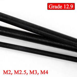 Grade 12.9 Steel M2 M2.5 M3 M4 Metric Thread Rod Bar Fully Threaded Studs Bolts