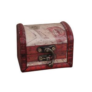 Decorative Trinket Jewelry Storage Box Handmade Vintage Wooden Treasure Case J