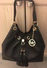 MICHAEL KORS Camden Large Leather Drawstring Shoulder Handbag Tote Bag Black New