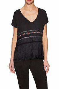 Twelfth Street Cynthia Vincent Embroidered Fringe Top Size S Black V-neck Loose