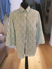 Charles Tyrwhitt Cotton Floral Turquoise Blouse Size 16