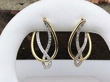 14K TWO-TONE DIAMOND HOOP EARRINGS .14CT