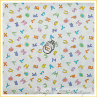 BonEful Fabric FQ Cotton Quilt White Blue Pink Green Baby Unisex Alphabet Letter