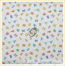 BonEful Fabric Cotton Quilt VTG White Blue Pink Green Baby Alphabet Letter SCRAP