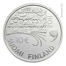 """2011 Finland 10 Euro Silver Proof Coin """"Juhani Aho 150 Years"""""""